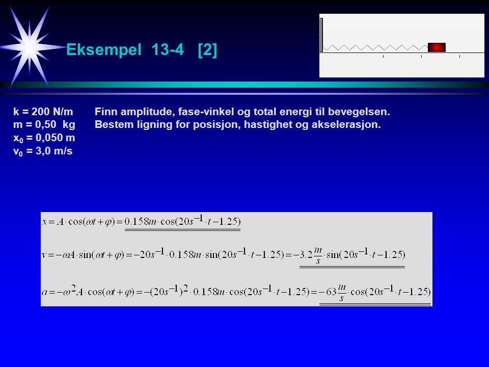 Eksempel 13-4 [2] k = 200 N/m Finn amplitude, fase-vinkel og total energi til bevegelsen.